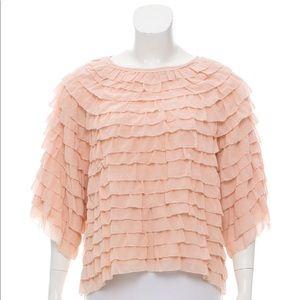 Ulla Johnson Silk Tiered Ruffle Top in Pink